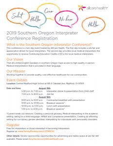 Invitation to 2019 Southern Oregon Interpreter Conference