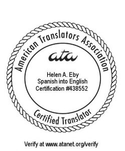 ATA Spanish to English Certification Helen Eby